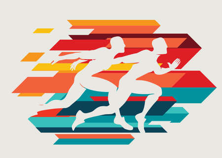 running people set of silhouettes, sport and activity  background Stockfoto - 126131284