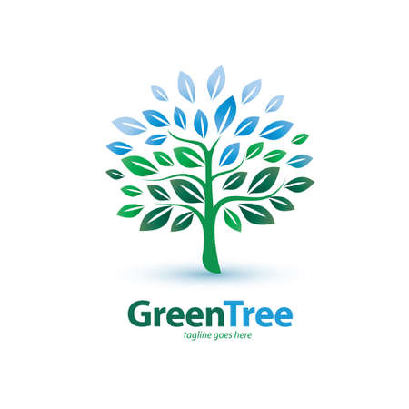 green tree stylized symbol, logo or emblem template