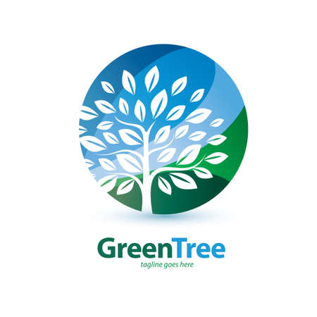 green tree stylized symbol, logo or emblem template, eco end environment concept