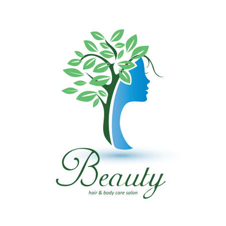 womans head stylized profile with green leaves hairs, skin care and womans health logo template