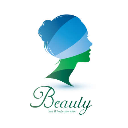 womans head stylized profile, skin care and womans health logo template