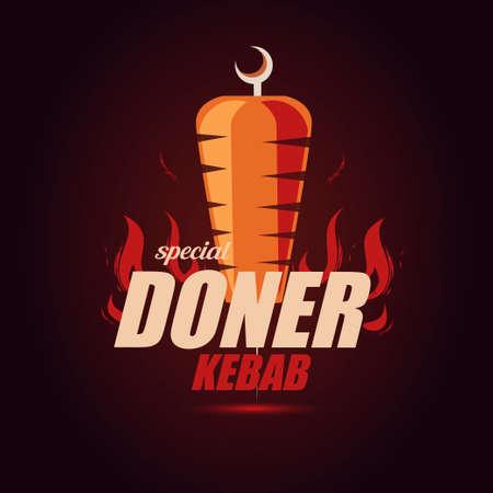 doner kebab emblem template, stylized vector symbol