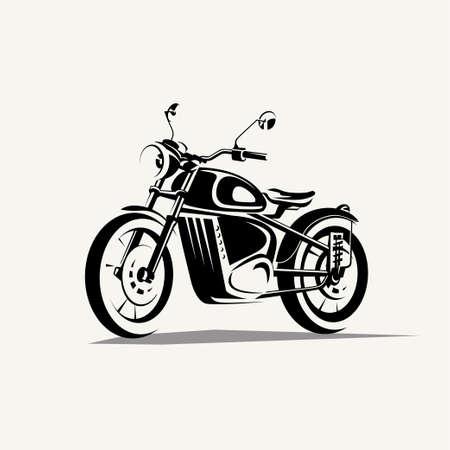 retro motorcycle symbol, stylized vector silhouette Çizim