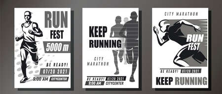monochrome running symbols set, collection of sport and competition posters template Çizim