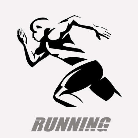running man vector symbol, stylized silhouette, sport and activity concept