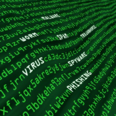Methods of cyber attack in code including virus, worm, trojan horse, malware and spyware Stock Photo - 5846353