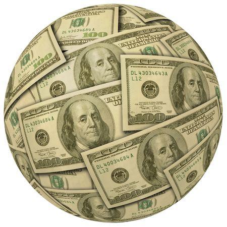 cashflow: Ball de efectivo o esfera de billetes de 100 d�lares