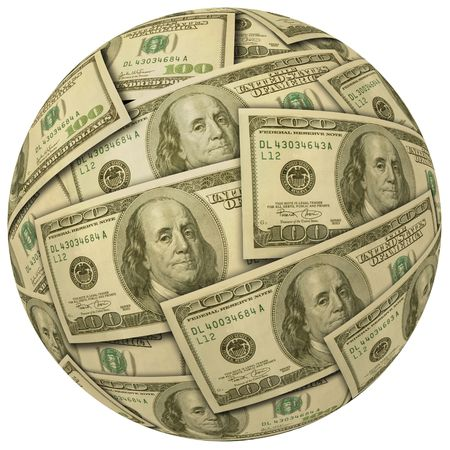 bank records: Cash Ball or sphere of $100 banknotes Stock Photo