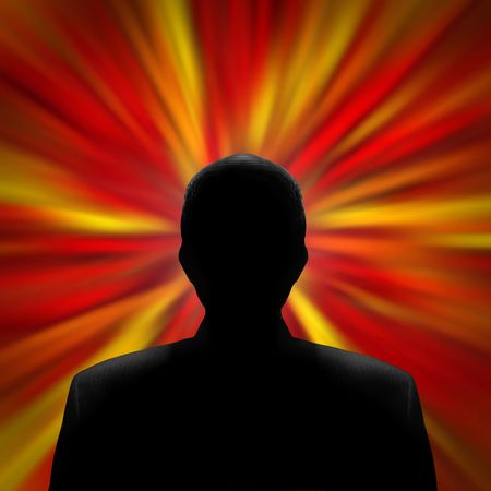 Black silhouette of a mysterious man in front of a red vortex