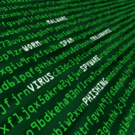 crime: Methods of cyber attack in code including virus, worm, trohan horse, malware and spyware