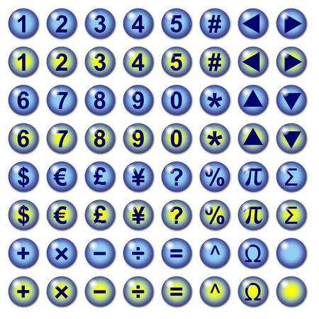 Blue graphic interface buttons with number currency and mathematical operation symbols for web use. Part of a set.
