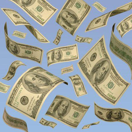 Hundred dollar bills floating against a blue sky.