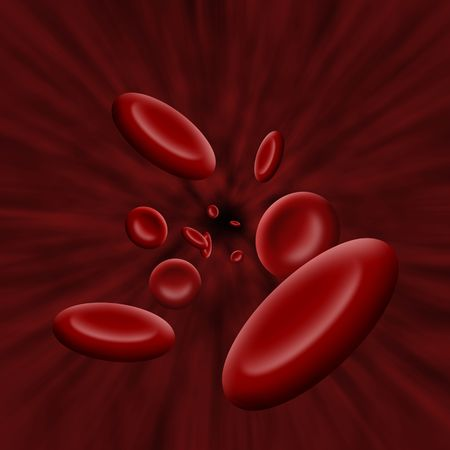 bloodstream: Illustration of platelet cells flowing through a vain or artery Stock Photo