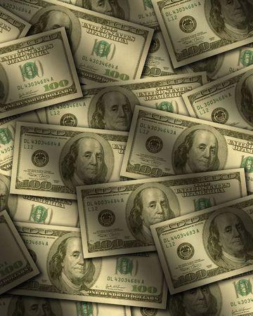 One hundred dollar bills lying flat, with window light raking across. Vertical Stock Photo