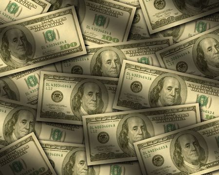 bank records: One hundred dollar bills lying flat, with window light raking across. Vertical Stock Photo