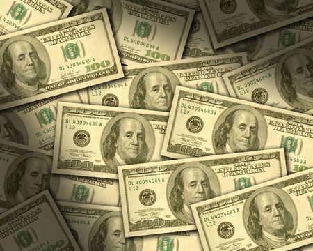 $100 bills laying flat dramtically lit. Horizontal Stock Photo