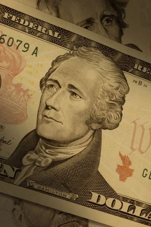 alexander hamilton: Primo piano di una bolletta di dieci dollari ($10), evidenziando Alexander Hamilton. Archivio Fotografico