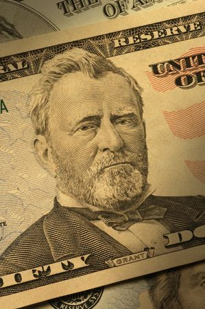 dramatically: Close-up of Ulysses S. Grant on the $50 bill, dramatically lit. Stock Photo