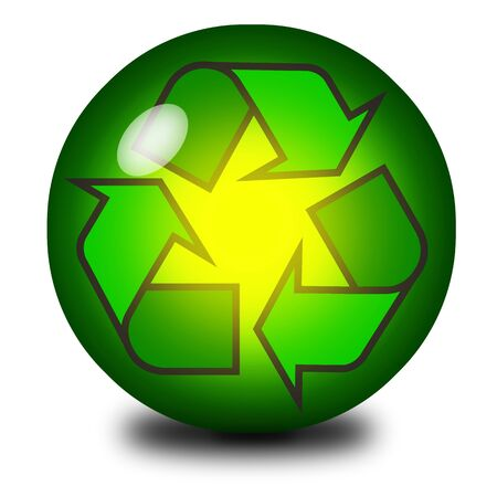 Recycling symbol inside a crystal ball or marble photo