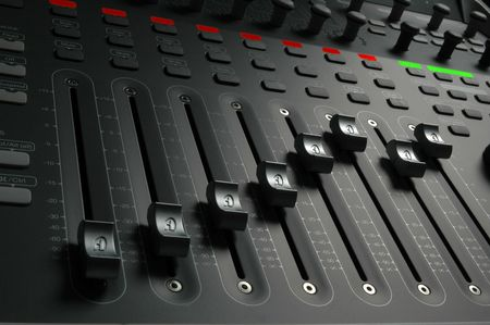 Professional audio mixing board sliders Stock Photo - 7096809