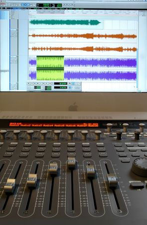Professional audio mixer with sliders and sound waves Standard-Bild