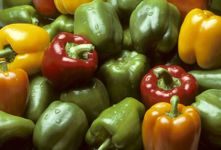 Bell peppers of vaus colors filling the frame Stock Photo - 7566004