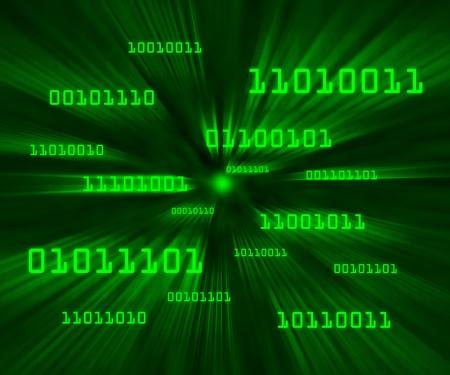 Green bytes of binary code flying through a vortex Horizontal photo
