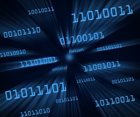 Blue tilted bytes of binary code flying through a vortex. Horizontal Stock Photo