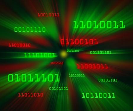 Red and green bytes of binary code flying through a vortex. Horizontal Banco de Imagens
