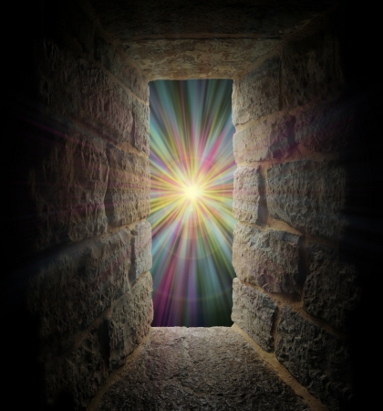 Mystical stone window, entrance or portal to a pastel vortex Stock Photo