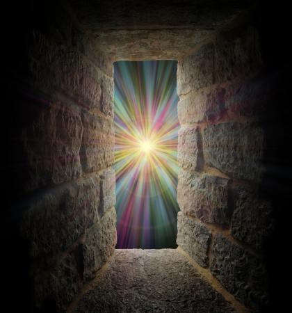 Mystical stone window, entrance or portal to a pastel vortex Standard-Bild
