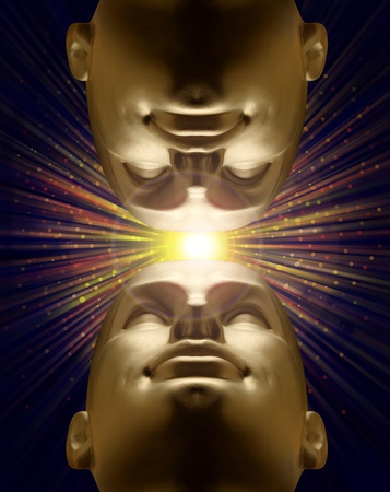 Two mannequin heads looking up with an explosion of light above Stock Photo