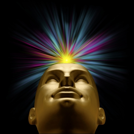 Golden mannequin head looking up with an explosion of pastel light above