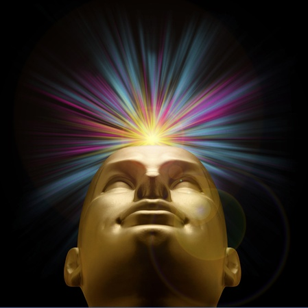 Golden mannequin head looking up with an explosion of purple and blue pastel light above, with lens flare Stock Photo
