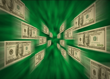 $100 bills flying through a green vortex, possibly representing high-speed cash flow, e-commerce, and transactions