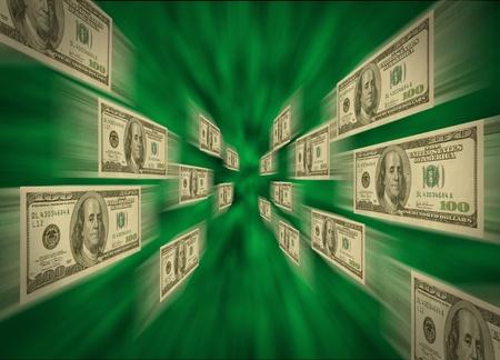 flujo de dinero: volando a trav�s de un v�rtice verde, posiblemente representando a alta velocidad de los flujos de efectivo, comercio electr�nico y transacciones de billetes de 100 d�lares