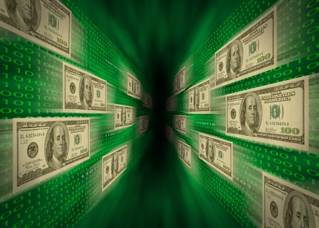money transfer: $100 bills flying through a green vortex, with walls of binary code, possibly representing high-speed cash flow, or e-commerce. Stock Photo