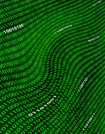 A distorted field of green binary ones and zeros.