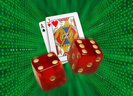 possibly: Playing cards and red dice flying toward camera through a green vortex, with walls of binary code, possibly representing Internet gambling.