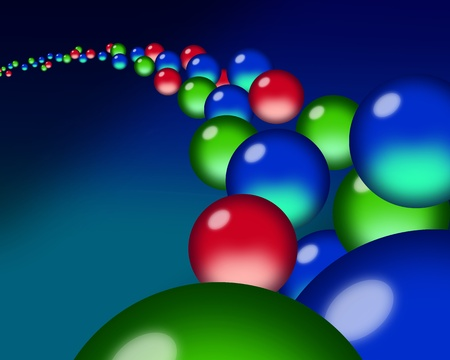 luminescent: A flow of red, green & blue orb droplets through a blue ether. Stock Photo