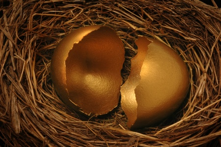 A cracked golden nest egg. Could symbolize threatened financial threat or disaster. photo