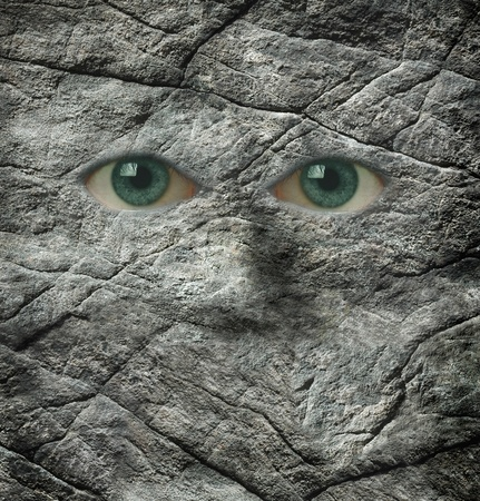 stoney: A face made of rock and human eyes Stock Photo