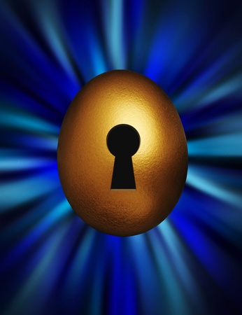 Golden egg with keyhole representing unlocking financial security against a blue vortex background Stock Photo - 8991949