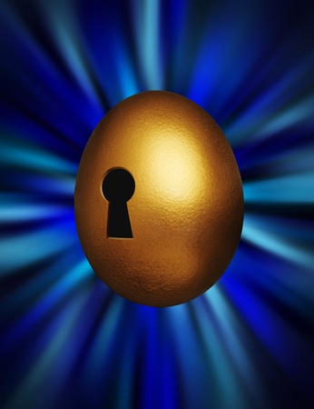 Golden egg with keyhole representing unlocking financial security against a blue vortex background photo