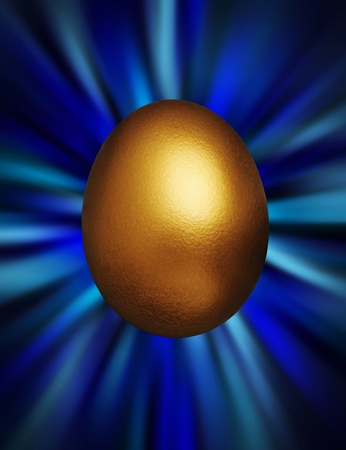 Golden egg against a blue vortex background photo