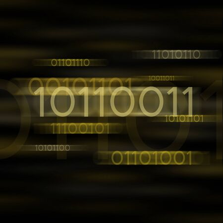 Yellow blurred binary computer code