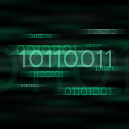 Green blurred binary computer code