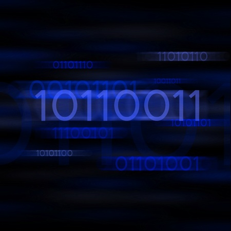 Blue blurred binary computer code