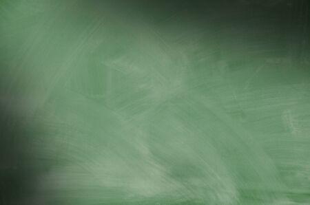 smeared: Green chalkboard with smeared chalk eraser marks lit diagonally Stock Photo