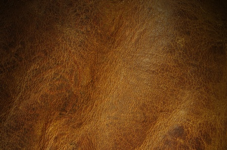 Distressed brown leather texture background lit from above photo